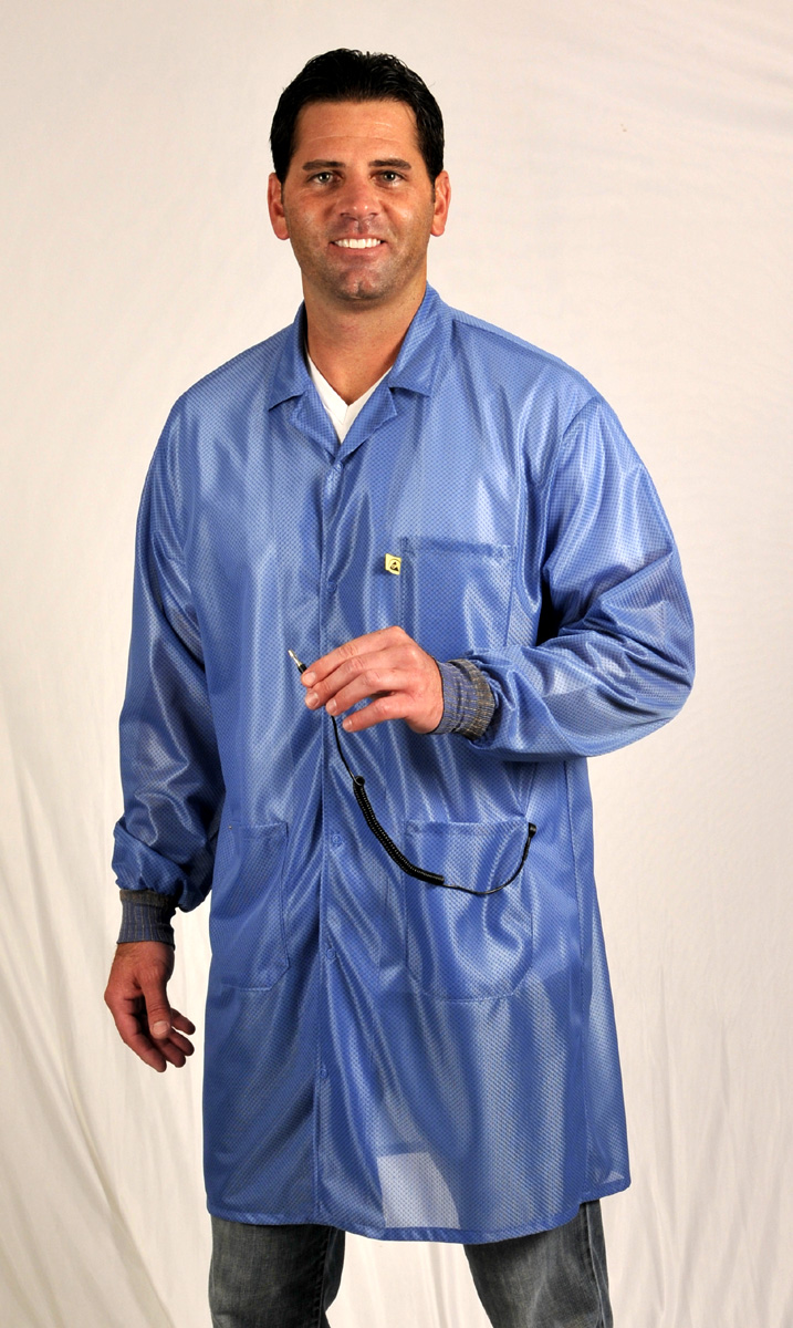 Tech Wear's LOC-23C teal ESD Garment is groundable with ESD grid-knit cuffs.
